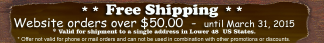Free Shipping Offer - Weborders - until March 2015