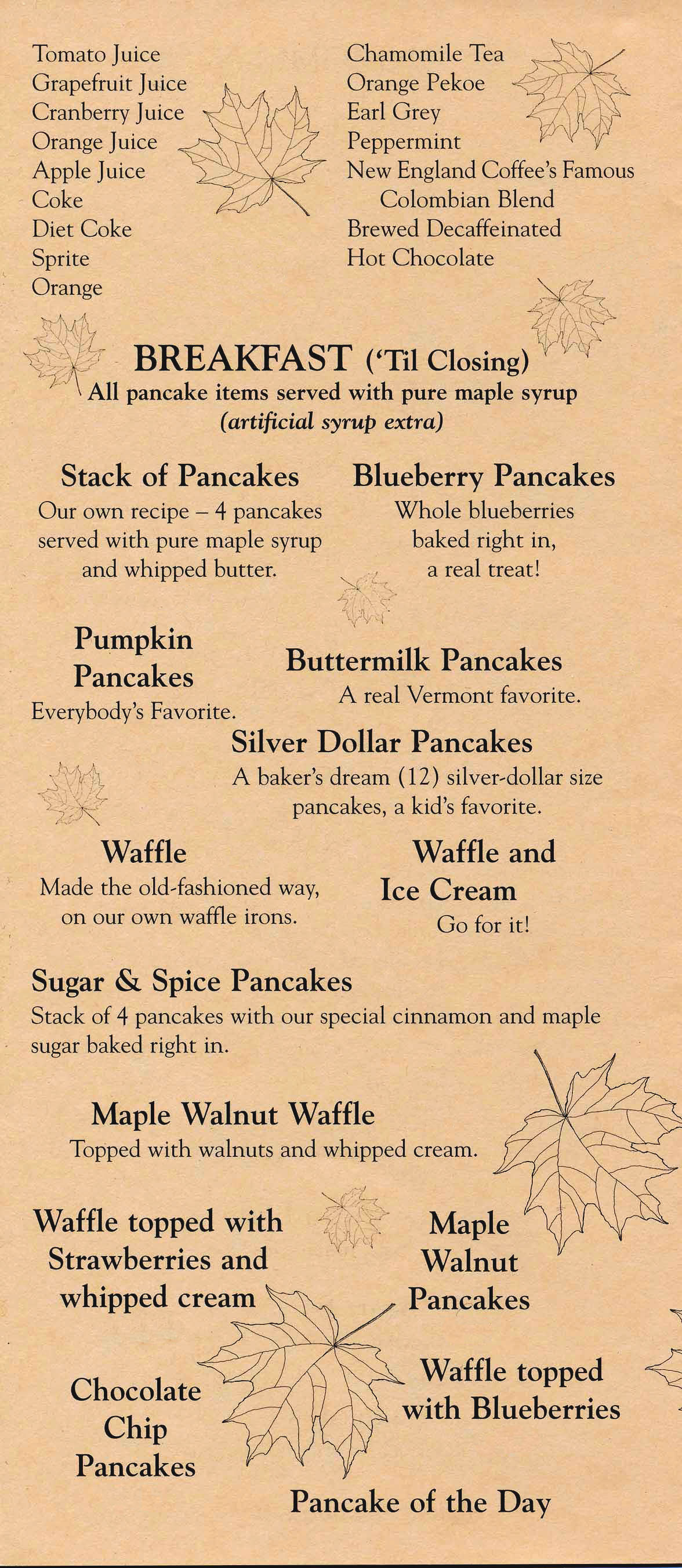 Sugar and Spice Menu - Breakfast Page 1