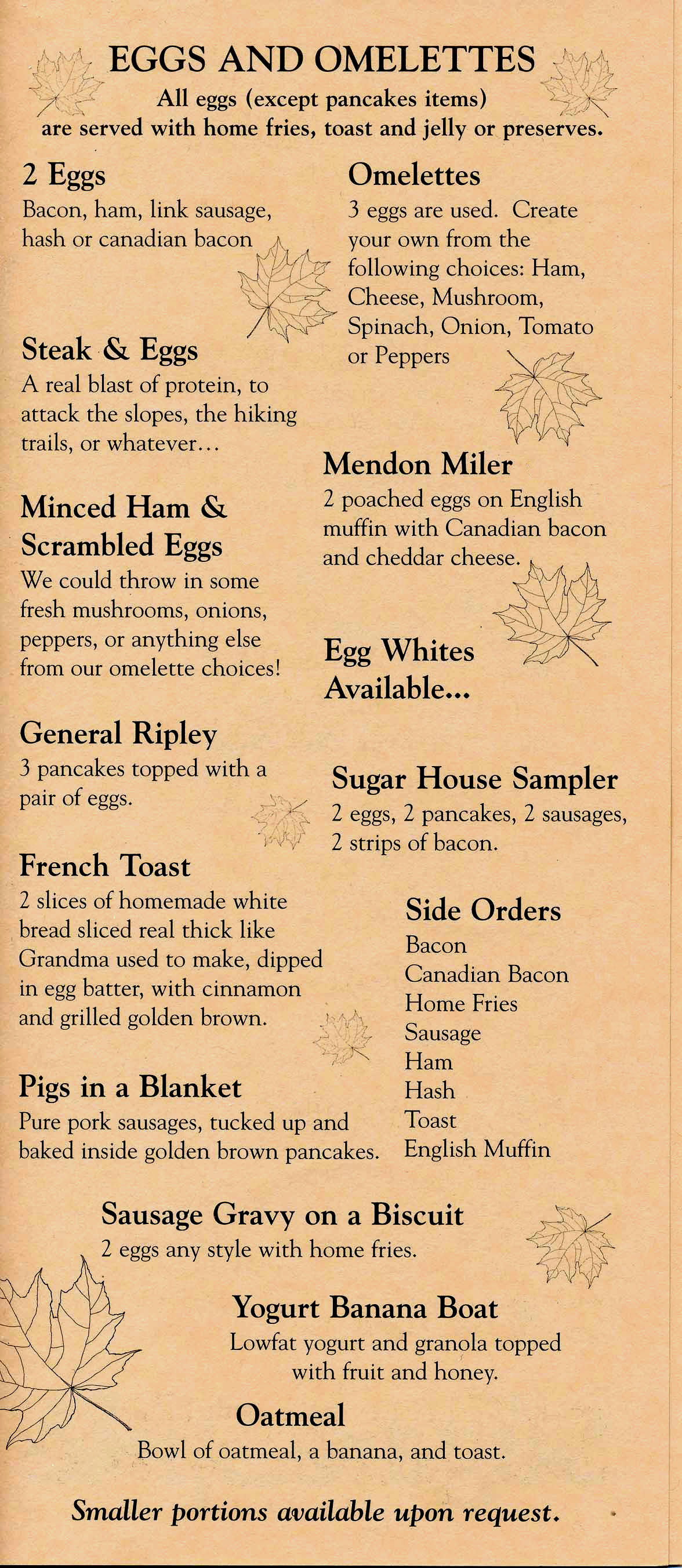 Sugar and Spice Menu - Breakfast page 2